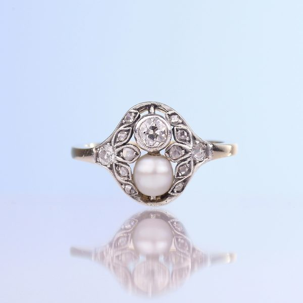 1890s Belle Epoque Pearl Old European Cut Diamond Ring