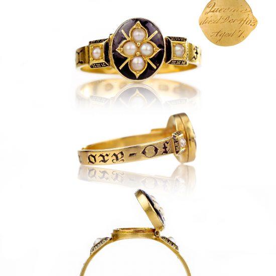 1878 Victorian Mourning Ring 18k Gold Pearls Black Enamel