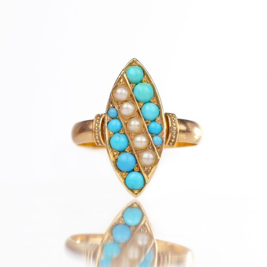 Victorian Pave Turquoise & Pearl Navette Ring