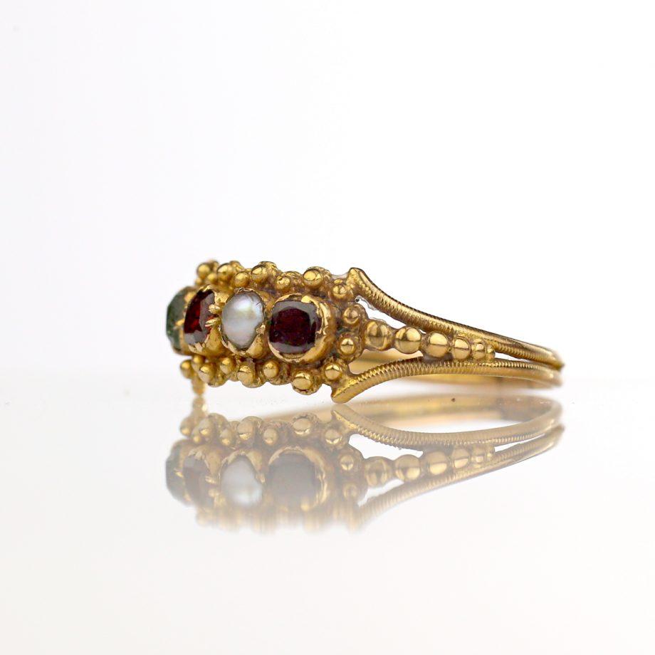 Late Georgian Cannetille Half Hoop Harlequin Ring