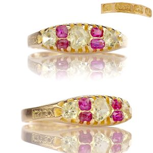 Victorian Clear Spinel Pink Topaz Half Hoop Ring