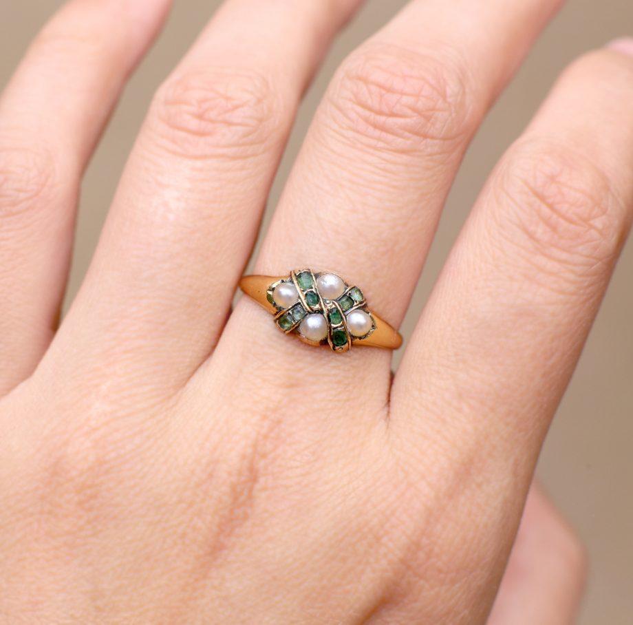 1860s Victorian Green Tourmaline & Pearl Ring