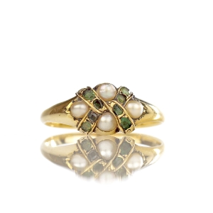 1860s Victorian Green Tourmaline & Pearl Ring