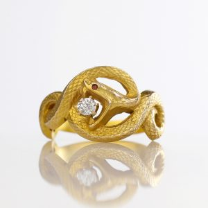 Art Nouveau Snake Ring Old Cut Diamond Bloomed Gold