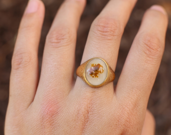 Antique Victorian Dendritic Agate Ring