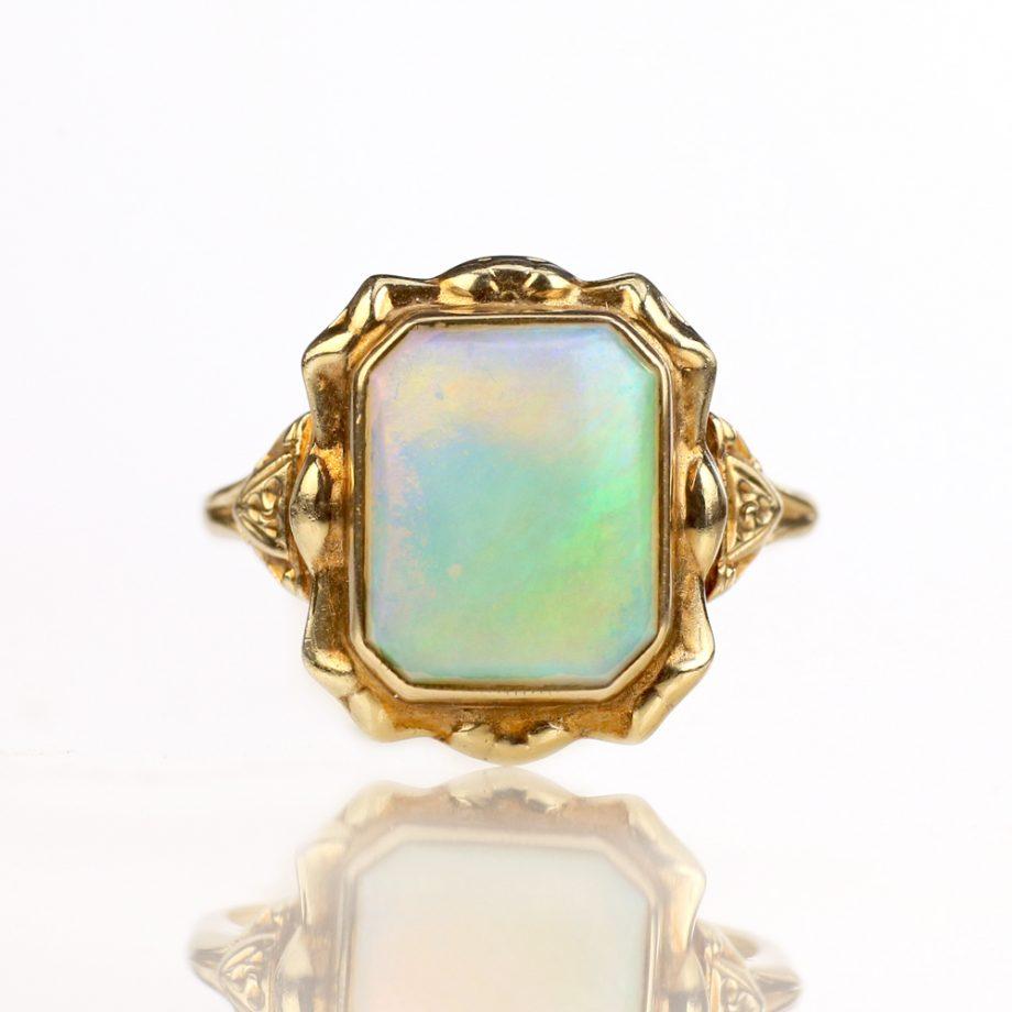 Victorian 14k Repoussé Opal Ring