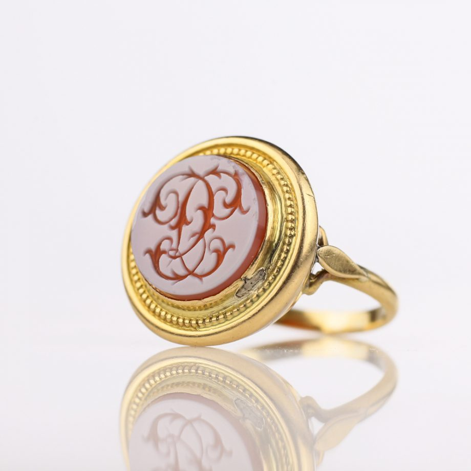 1880s Victorian Sardonyx 'CC' Initial Signet Ring