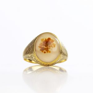 14k Victorian Moss Agate Ring