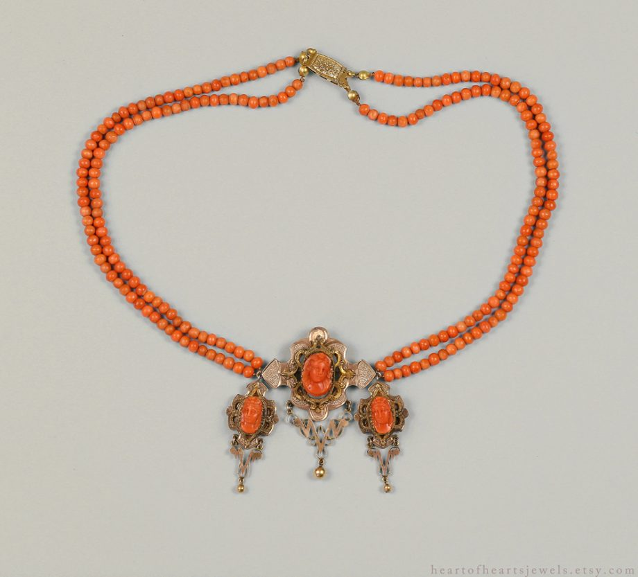19th c Victorian Carved Coral Cameo Necklace 14k gold