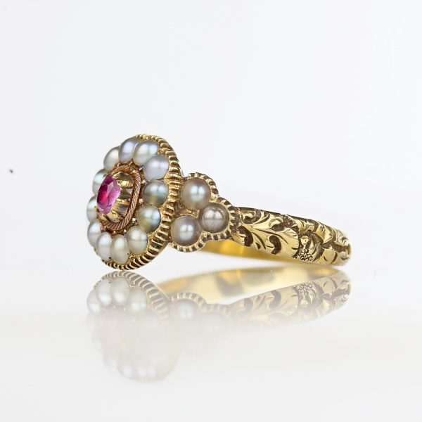 1830s Georgian Foiled Pink Topaz Ring Chased Band
