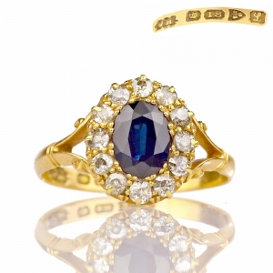 1911 Antique Sapphire Ring with Diamond Halo