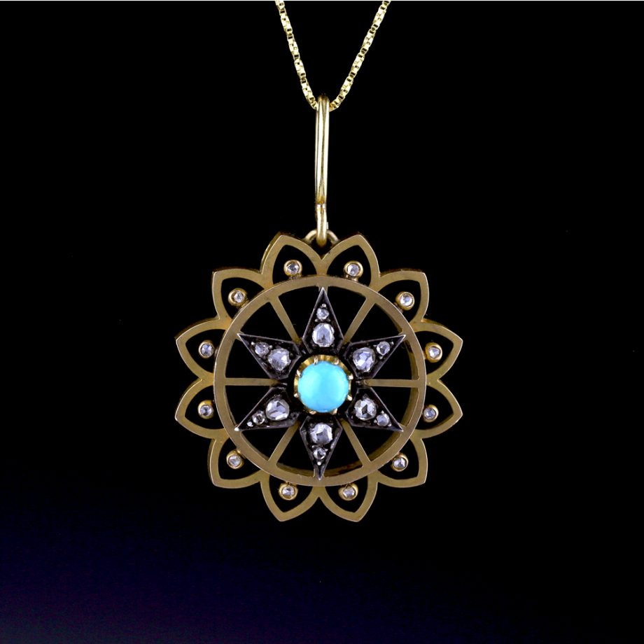 1890s French Turquoise Diamond Pendant
