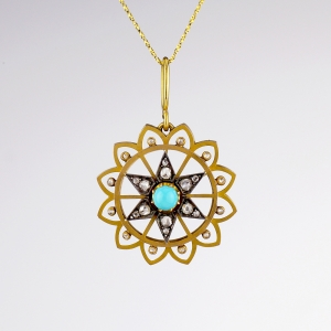 1890s French Turquoise Diamond Pendant