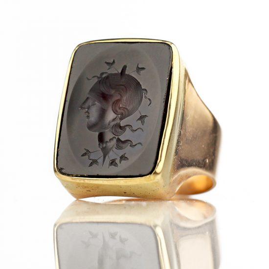Victorian Garnet Ceres Demeter Intaglio Ring