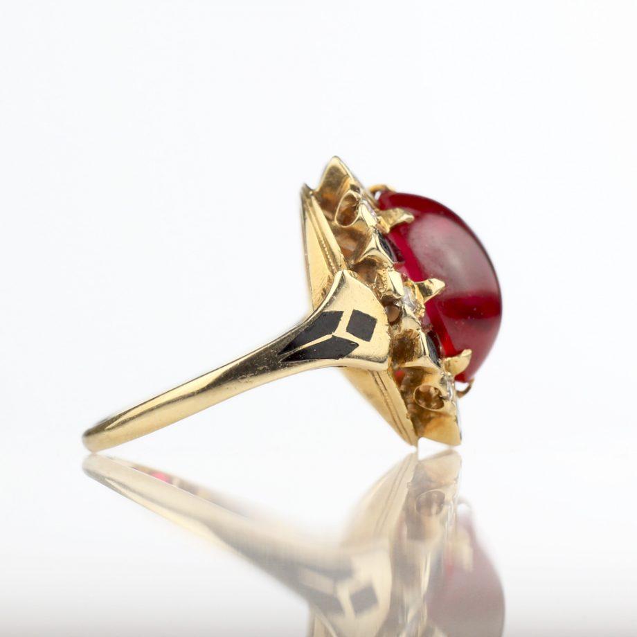 1930-40s Ruby Black Enamel Diamond Halo Ring