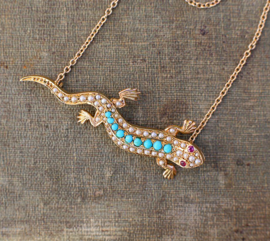 Victorian Turquoise Pearl Salamander Pendant