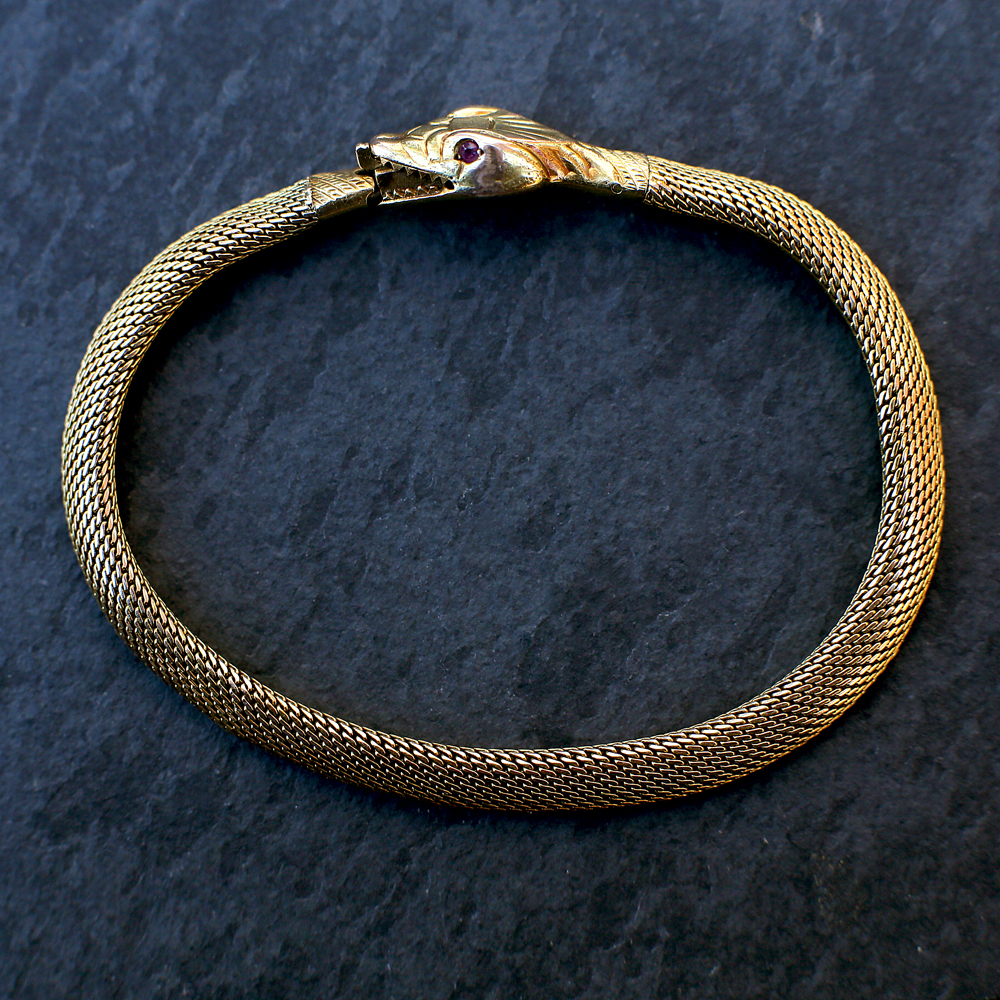Antique 14k Gold Ouroboros Bracelet