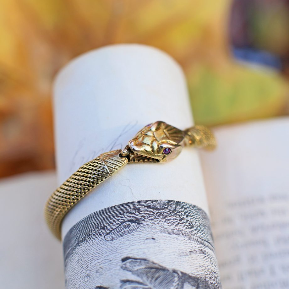 Antique 14k Gold Ouroboros Bracelet