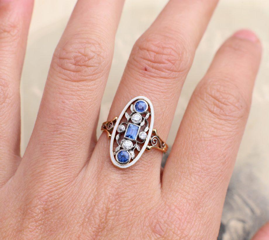 Art Nouveau Riker Bros Diamond Sapphire Ring
