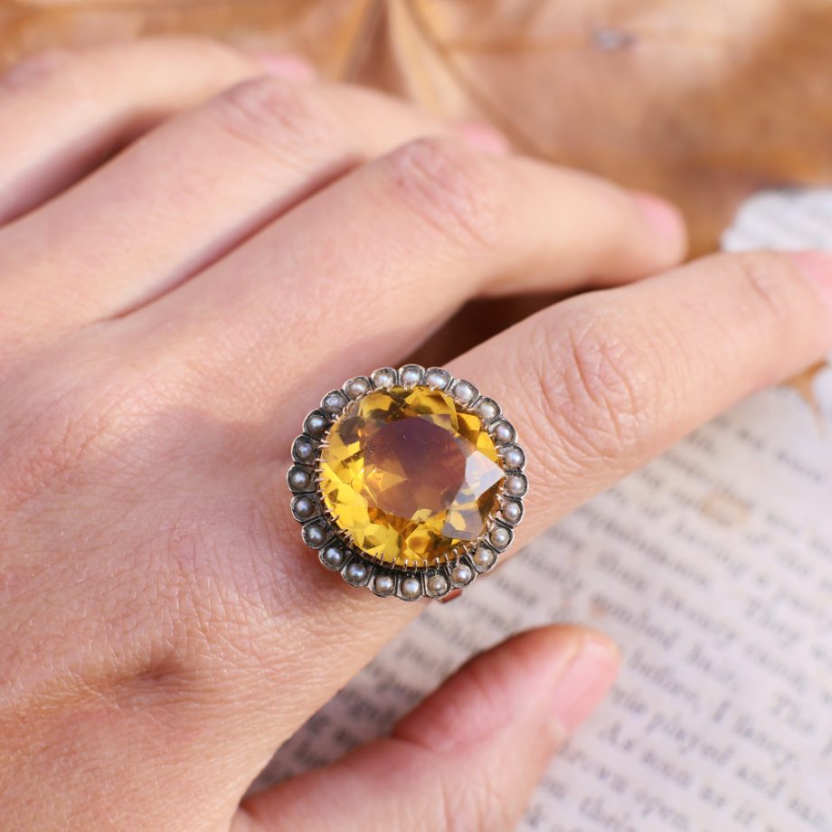 Victorian 1880s 10-ct Citrine & Seed Pearl Halo Ring