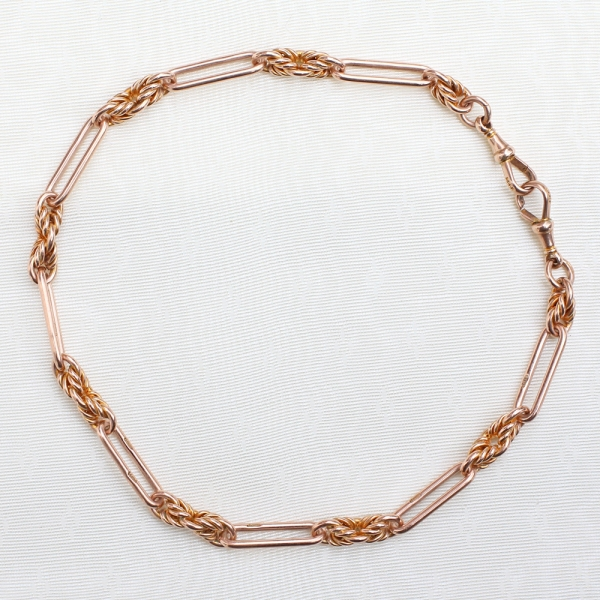 Antique 9k Rose Gold Watch Chain