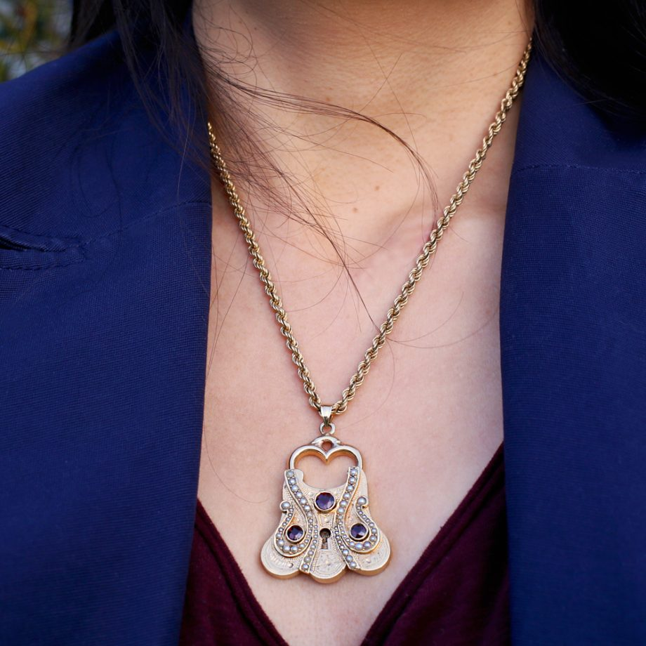 Large Victorian Padlock Pendant 14k Gold Natural Pearls Garnets
