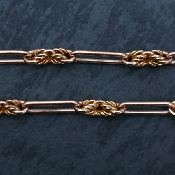 9k Rose Gold Edwardian Watch Chain with Knot & Trombone Links