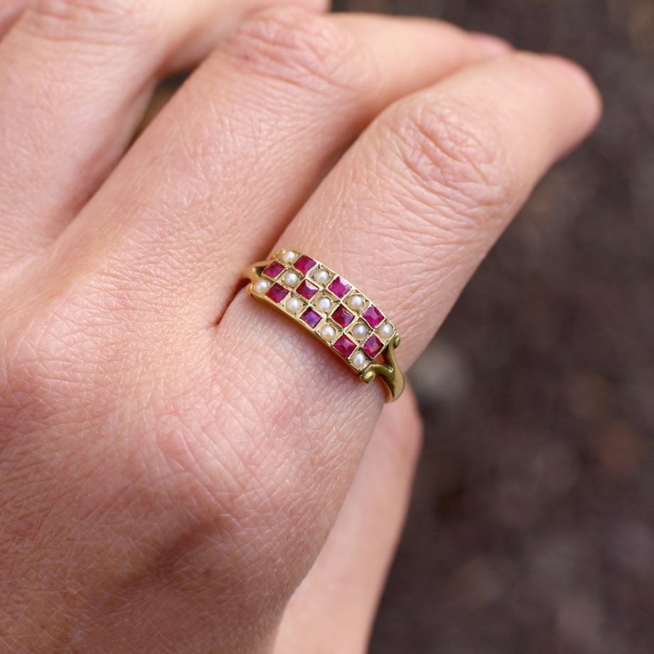 Antique Ring - French Napoleon III 18k Gold 'Checkboard' Pave Pearl & Ruby Ring Eagle Mark, Victorian Ring Antique Jewelry Antique Ruby Ring