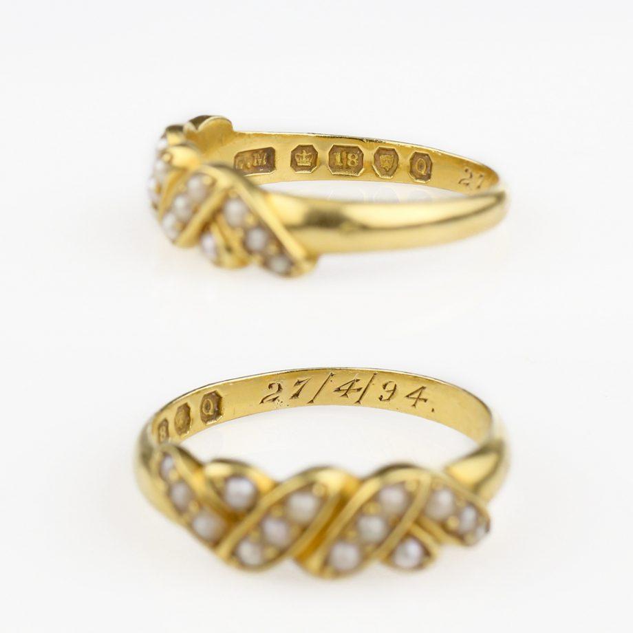 1891 Victorian 18k Gold Natural Pearl Ring