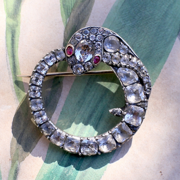 18th c Georgian Foiled Quartz Ouroboros Brooch
