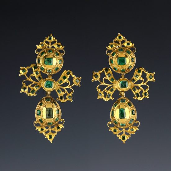 18th c Spanish Iberian Emerald Earrings