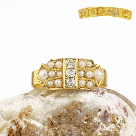 1884 Victorian Pearl Old Cut Diamond Ring 18k Chester