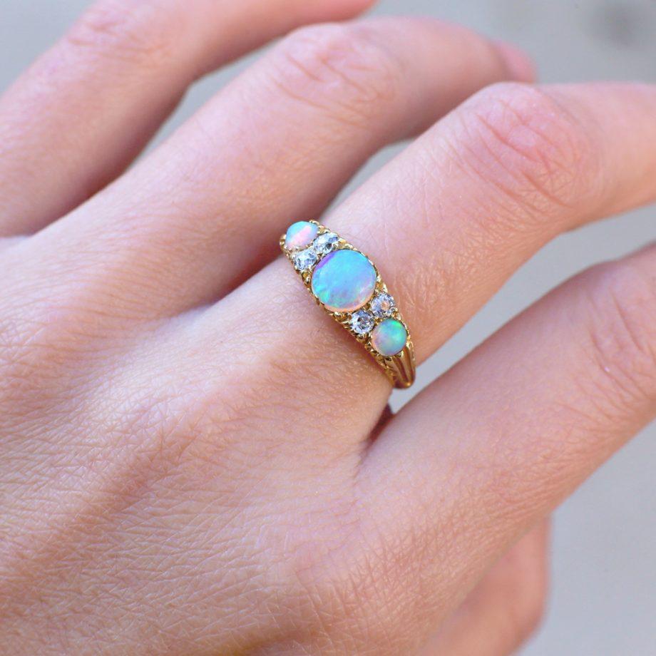 Victorian Opal Ring 18k Old Mine Cut Diamonds
