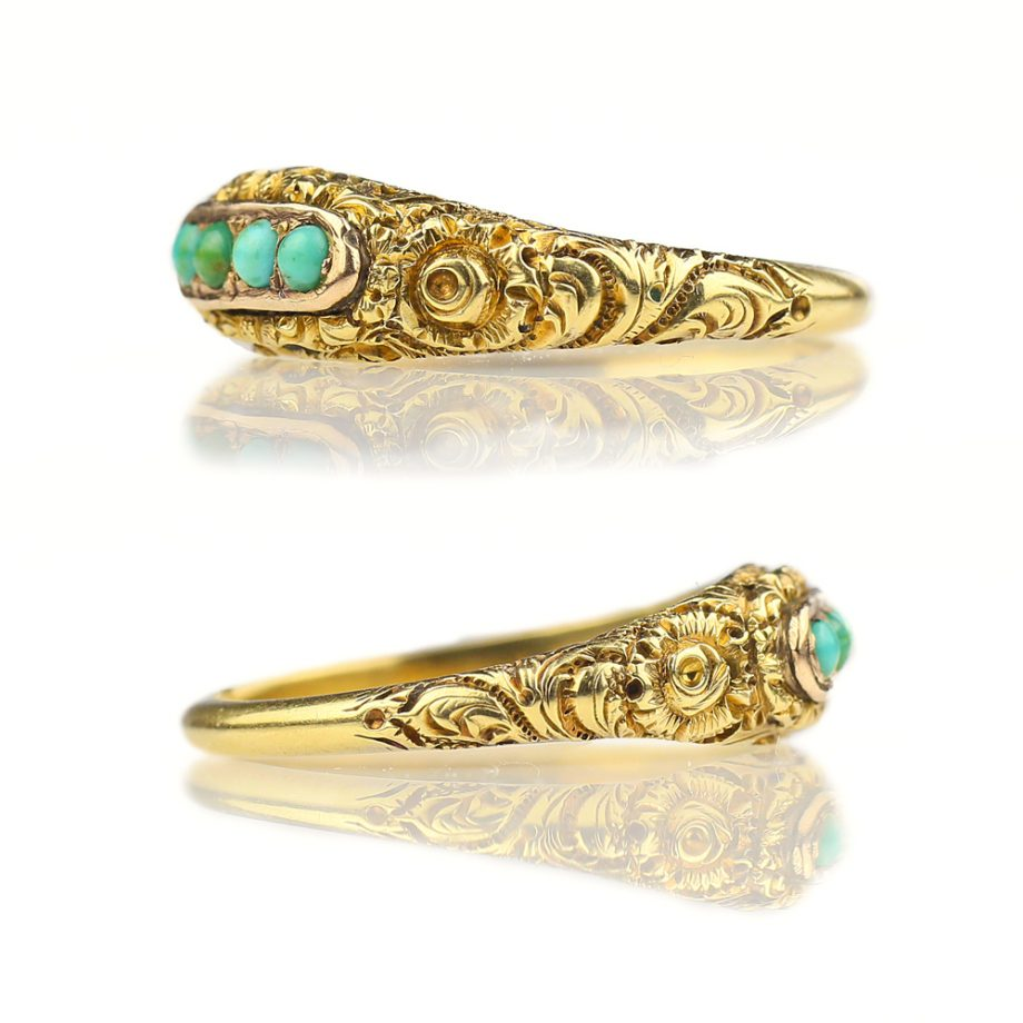 Georgian Ring - 1833 Antique Mourning Ring Chased 15k Gold Persian Turquoise, Antique Ring Antique Turquoise Ring Engraved Floral