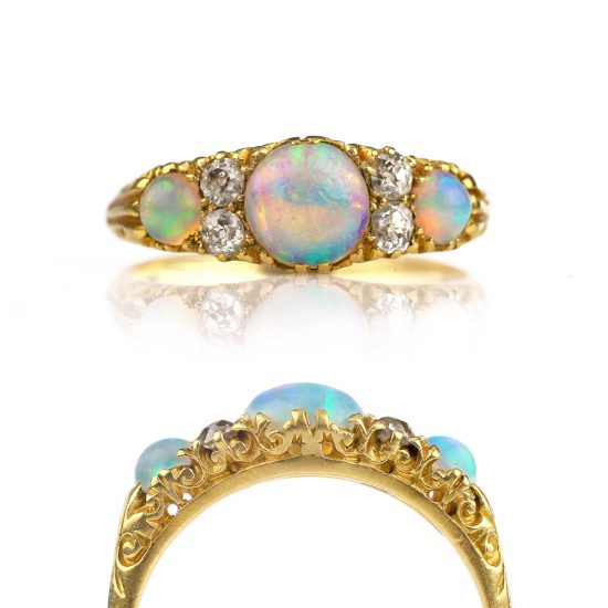 Victorian Opal Ring 18k Old Mine Cut Diamonds