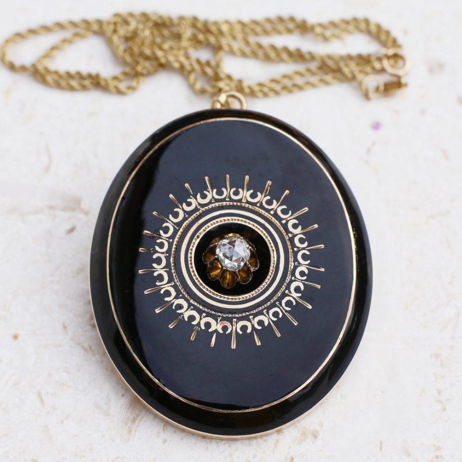 Victorian Mourning Locket Rose Cut Diamond Black Enamel