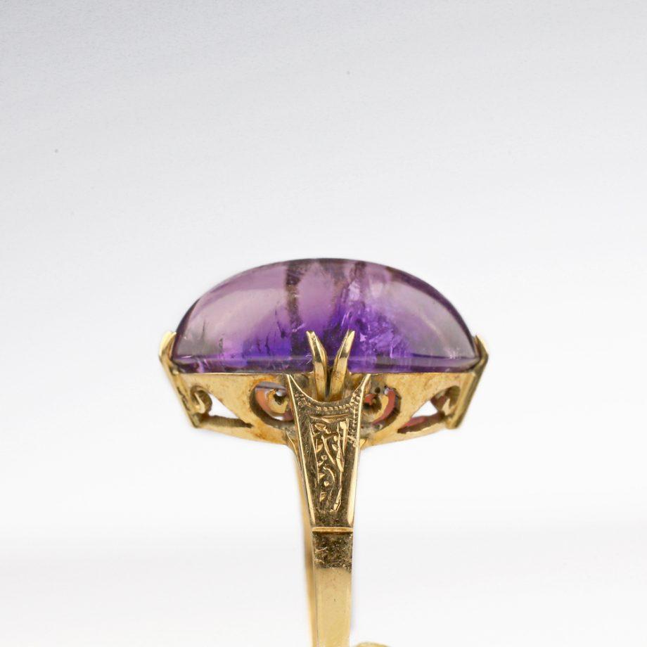 Edwardian Art Nouveau 14k Siberian Amethyst Ring