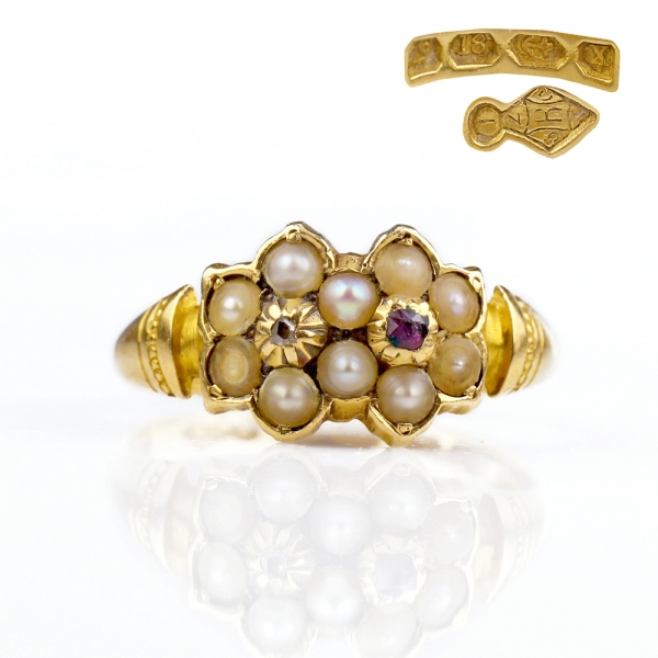 1872 Victorian Pearl Ruby Double Flower Ring