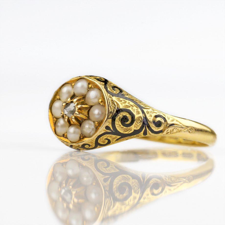 1874 Victorian Diamond Pearl Mourning Ring Black Enamel