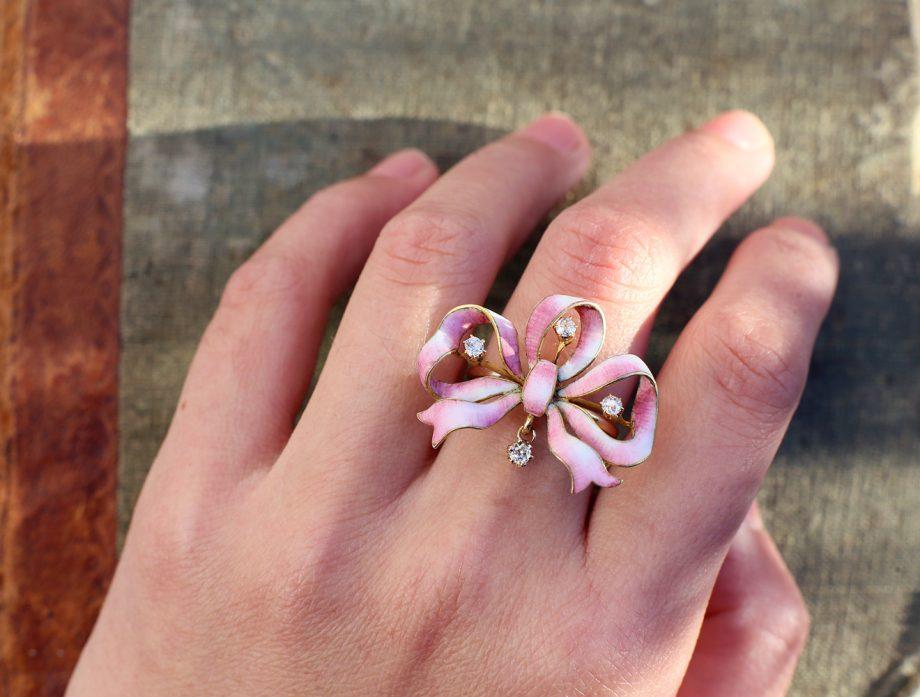 Art Nouveau Old Cut Diamond Pink Enameled Bow Ring