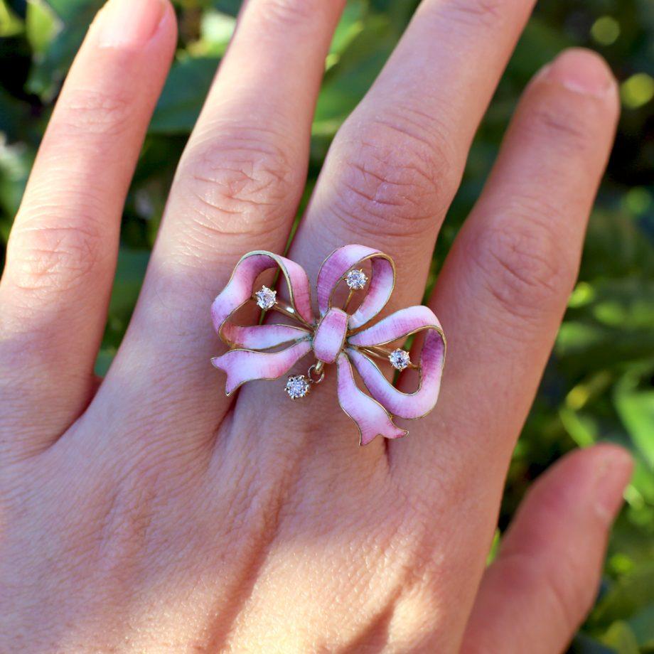 Art Nouveau Old Cut Diamond Enameled Bow Ring