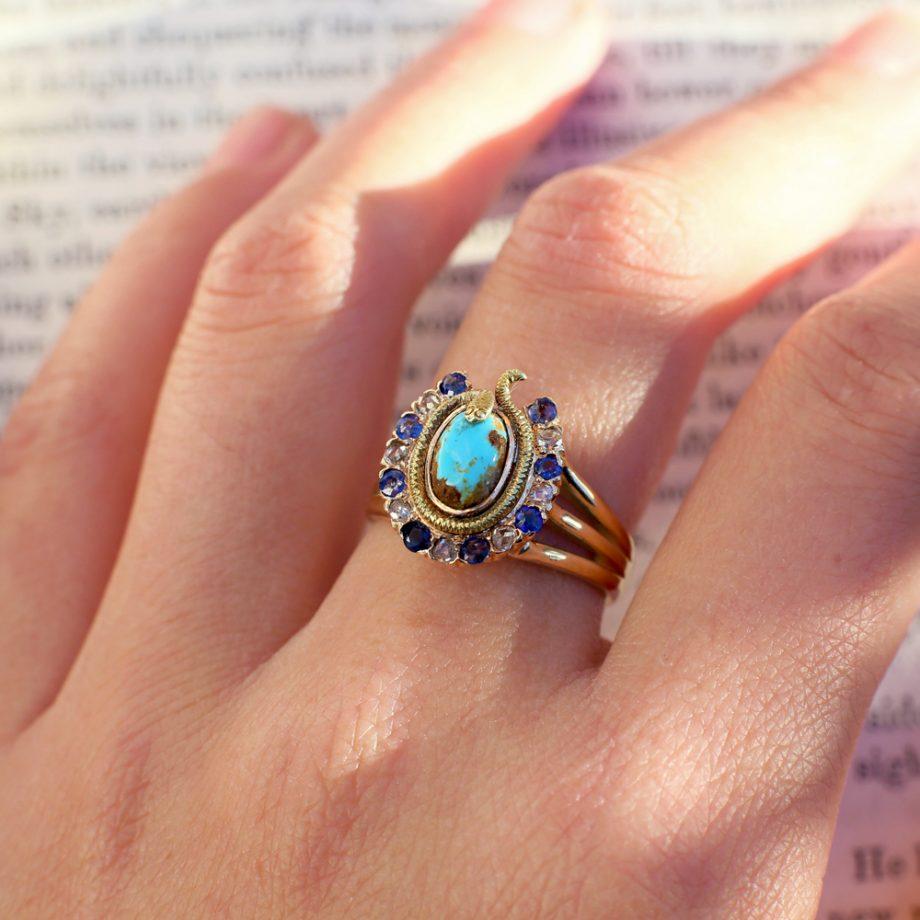 Victorian Egyptian Revival Diamond Sapphire Turquoise Horseshoe & Snake Ring