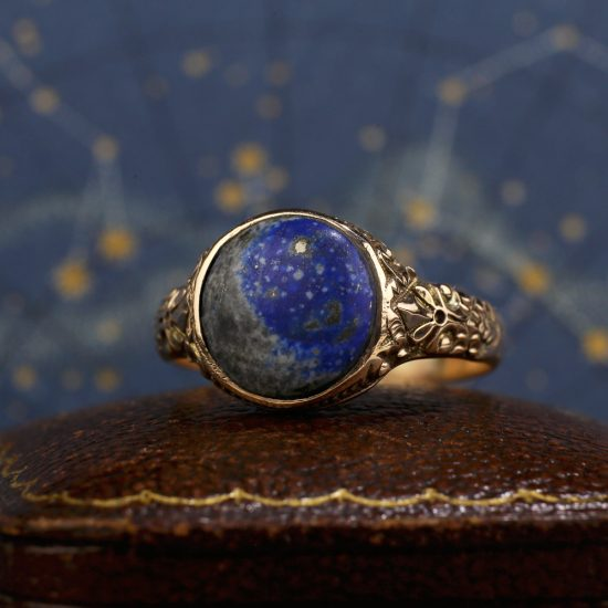 Victorian Chased 'Starry Night' Lapis Lazuli Ring