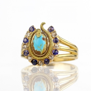 Victorian Egyptian Revival Diamond Sapphire Turquoise Horseshoe & Snake Ring