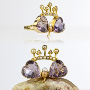 Victorian Crowned Heart Acorn Conversion Ring