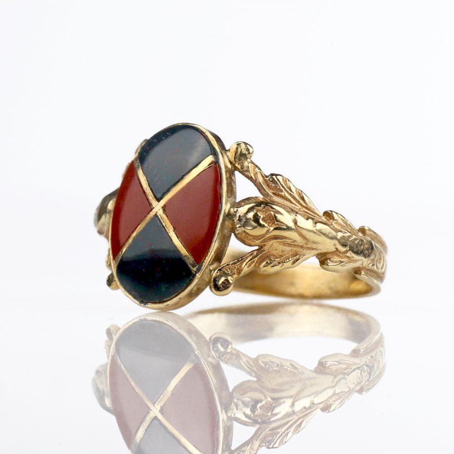 Victorian Scottish Bloodstone Harlequin Ring