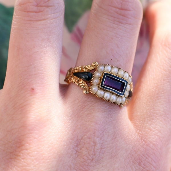 Georgian 18k Amethyst Pearl Mourning Ring