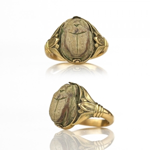 1880s Egyptian Revival Victorian Scarab Ring