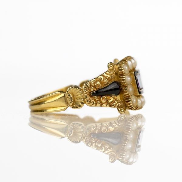 Georgian 18k Amethyst Pearl Mourning Ring