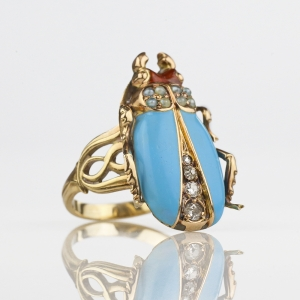 Art Nouveau Enameled Diamond Pearl Beetle Ring